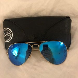 Ray-Ban Aviator Blue Flash Sunglasses (Polarized)
